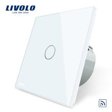 Livolo EU Standard Wall Light Remote Touch Switch,1gang 1way ,Glass Panel, AC 220~250V ,VL-C701R-1/2/3/5, No remote controller(China)
