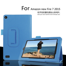 "For Amazon new Fire 7 2015 Leather Stand Smart Case Cover For new kindle fire 7 2015 7"" para e-Book Cases free shipping(China)"