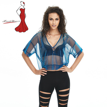 Deviz Queen 2017 New Arrived Women's Sexy Tops V-neck Metallic Sheer Mesh Blue T-Shirt for Fashion Lady Party Club Focus(China)