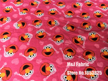 pajamas ELMO Sesame Street Lycra knitted Cotton fabric For Sewing diy Patchwork BABY boy jacket Hat pajamas 50*170cm(China)