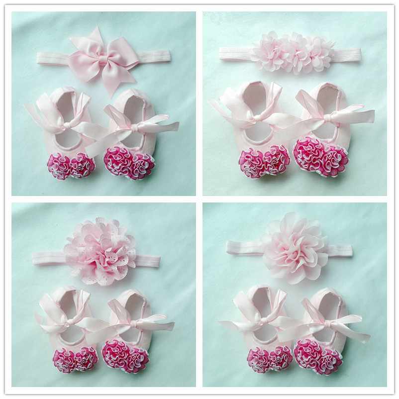 Baptism Baby Girl Shoes Toddler Gift Infant Fabric Booties Headband Set Little Girls Walker First Shoe Photo Prop 1set S142<br><br>Aliexpress
