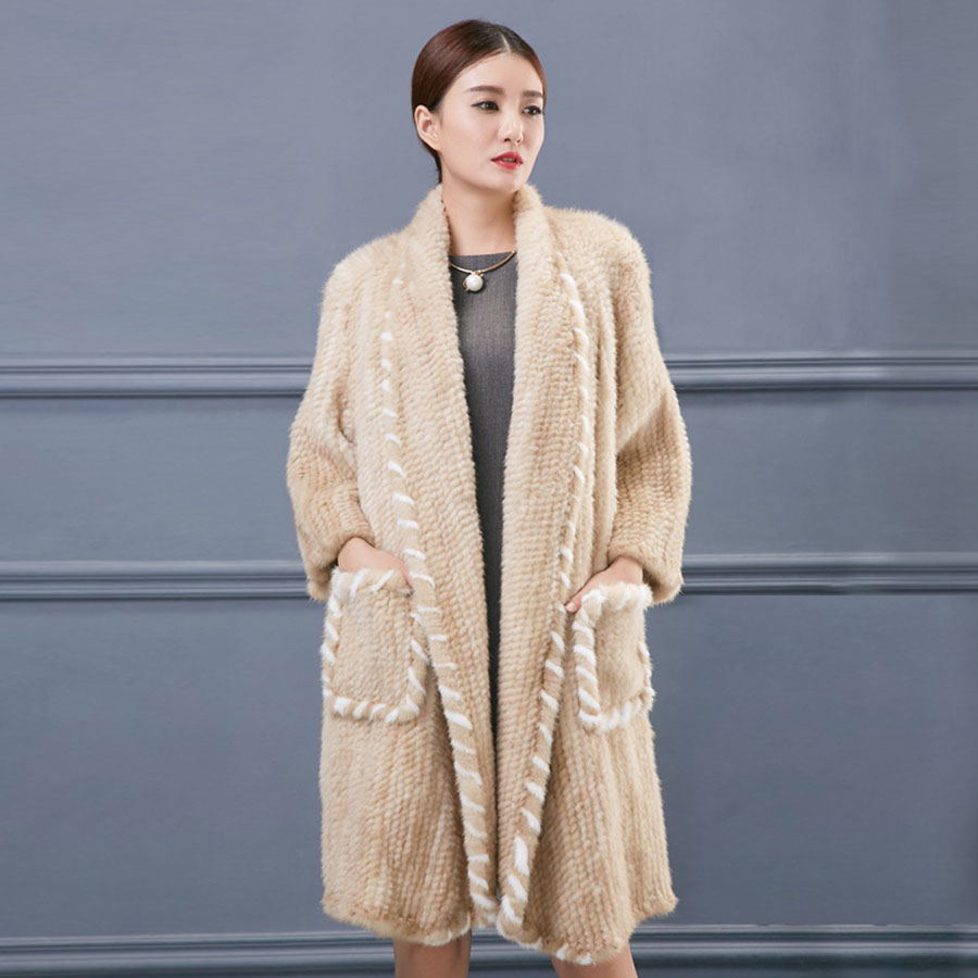 women luxury genuine real knitted mink fur shawls (8)