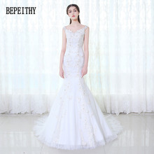 Buy BEPEITHY New Arrival 2017 Custom Made Vestido De Noiva Mermaid Applique Lace V-Neck Beads Tulle Sheer Back Vintage Wedding Dress for $196.35 in AliExpress store