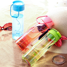 450ml 2017 new design SINGLE wall plastic my water bottle with printing fruit juice  water kettle bap-free
