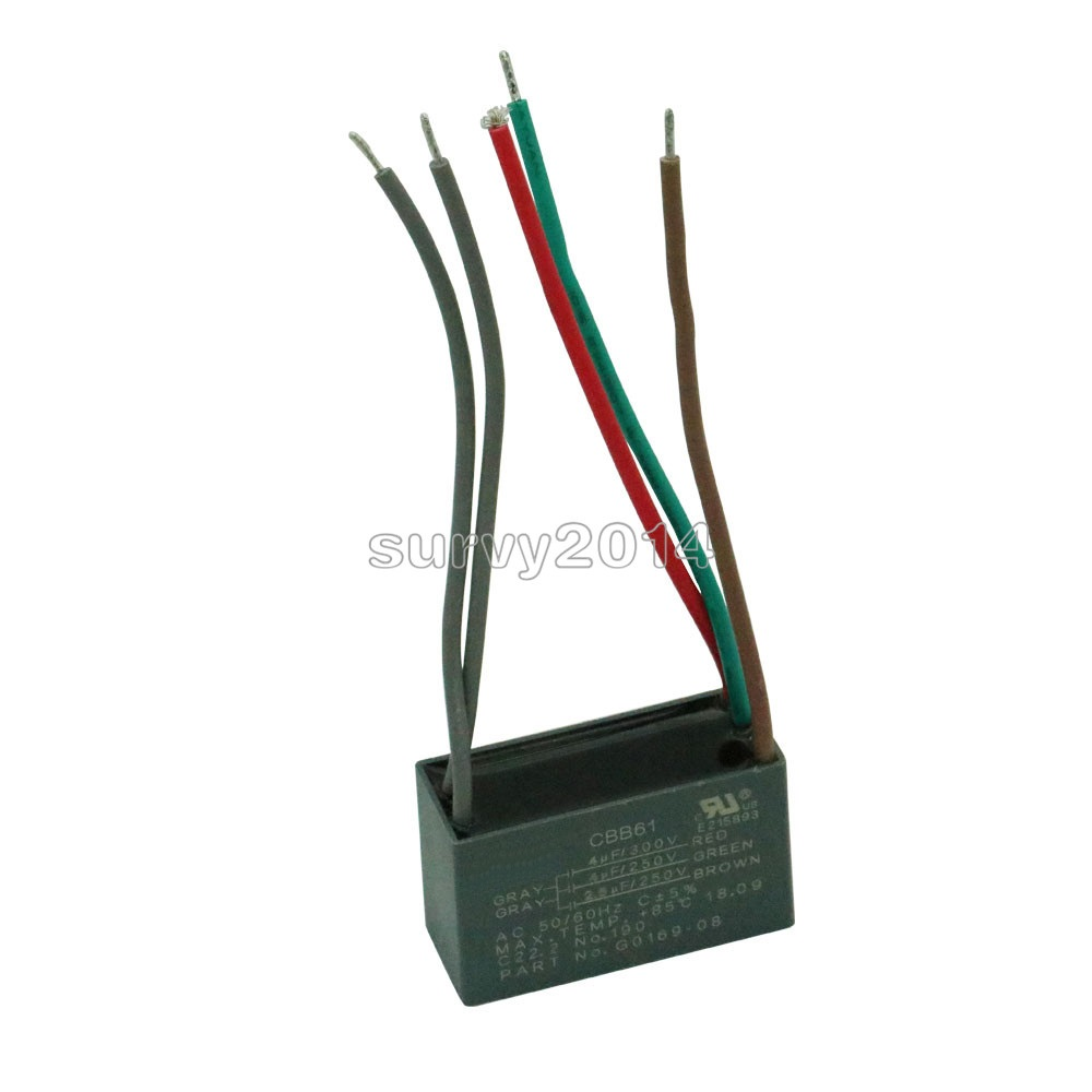 CBB61 AC450V 1.5uF con cable motor correr Condensador Reemplazo Negro 1.5uf