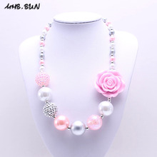 MHS.SUN Newest Design Grey+Pink Flower Kid Chunky Necklace Bubblegum Bead Baby Girl Chunky Necklace Jewelry For Toddler Children