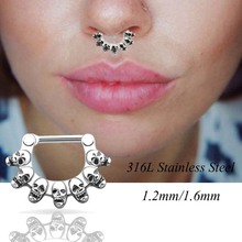 Septum clicker Nose Rings Hoop 1pc 316L Stainless Steel Septum Clicker Hinged 7 Skulls Nose Ring Jewelry Gauges Nose Piercing