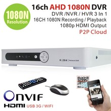 HDMI 1080P Output DVR NVR for security 1080p IP camera 16ch AHD 1080N 1080*960P Recording playback 3G WIFI CCTV DVR Recorder