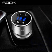 Car Charger Digital Display Dual USB, ROCK 5V 3.4A iPhone Xiaomi Samsung Fast Charging Voltage Monitoring Universal Phone