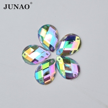 500pcs 8*13mm Sewing Crystal AB Color Sew On Acrylic Rhinestones Drop Shape Flatback Strass Crystals Stones Decorations