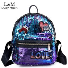 Buy Luxy moon Mini Glitter Backpack Women Silver Sequin Daypacks 2018 Teenage Girls Black PU Leather Bling Backpacks mochila XA862H for $16.02 in AliExpress store