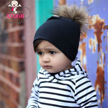 XCQGH Newborn Baby Hat Solid Color Pompom Fur Caps for Boys Girls Autumn Winter Children's Hats Caps(China)