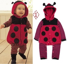 Polka Dot Ladybug Fleece Baby Rompers Body Warmers Hoodies Romper Retail 1pcs/lot HOT SALE
