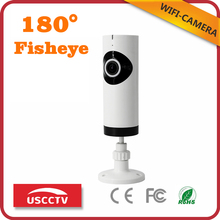 USC New Model Home Security Camera USB Powered Wifi Fisheye CCTV Onvif IP Audio Video Desk 180 Degree Camera SD Card Slot