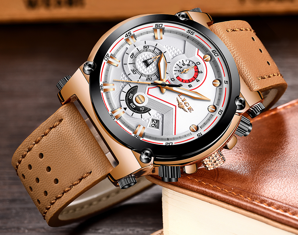 Reloje 18 LIGE Men Watch Male Leather Automatic date Quartz Watches Mens Luxury Brand Waterproof Sport Clock Relogio Masculino 18