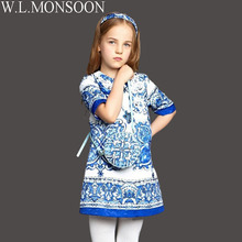 W.L.MONSOON Costume Girls Clothes 2016 Winter Children Dress for Girls Embroidered Jewels Girls Dresses Princess Robe Fille