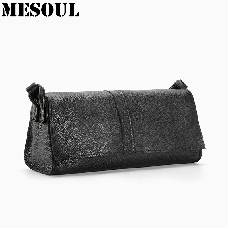 Women Genuine Leather Bag Ladies Summer Messenger Shoulder Bag Fashion Style Small Bag Black Cross Body Bag Coin Purse <br>