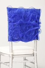 free shipping royal blue organza chair cover for weddings chiavari chairs(China)