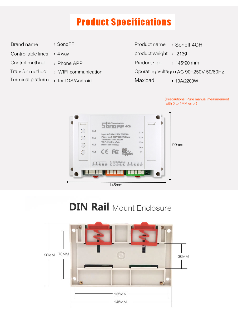 Itead Sonoff 4ch Din Rail Mount On Off Wifi Wireless Switch Remote Pcb Circuit Board Mounting Bracket For Fst Control Smart Home 591 01 02 03 04 05 06 07 08