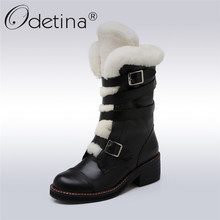 Odetina 2017 New Luxury Winter Women Genuine Leather Snow Boots Thick Fur Black Wool Boots Chunky Heel Mid Calf Boots Warm Shoes(China)