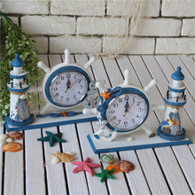 Mediterranean Creative Lighthouse Clock Bell  Bedroom Wooden Ornaments Rudder Home Furnishing Watch Clock Decoration Accessories