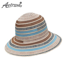 [AETRENDS] 2017 Summer Hats for Women Cotton Striped UV Protection Sun Hat Beach Panama Caps Z-5135