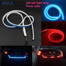 FSYLX 120cm Car RGB LED Strip Rear Trunk Tail Light Strips LED RGB Dynamic Streamer Brake Turn Signal Led Warning Lights Strips(China)