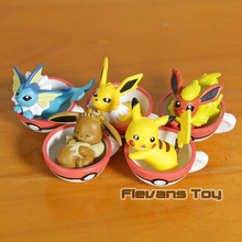 Anime Cartoon Monsters Mini Pikachu Eevee Jolteon Vaporeon FlareonPVC Figures Toys 5pcs/set
