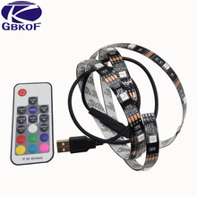 5V USB LED Strip 5050 RGB TV Background Lighting Kit Cuttable with 17Keys RF Controller or Mini 3Keys Controller 50CM/1M/2M Set