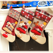 Christmas Stockings Hand Made Crafts Children Candy Gift Santa Bag Claus Snowman Deer Stocking Socks Christmas Tree Decoration