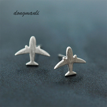 W0283 Fashion Simple Design Silver Plane Women Stud Earring Jewelry Women Party Airplane Gift Cute Lady Aircraft Earring(China)