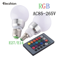 Changing RGBLED Lamp  IR Remote Control+Spotlight  E14 E27 bulbs 16 Colors  Magic leds Light 7W 5W RGB Bulb Christmas AC220V
