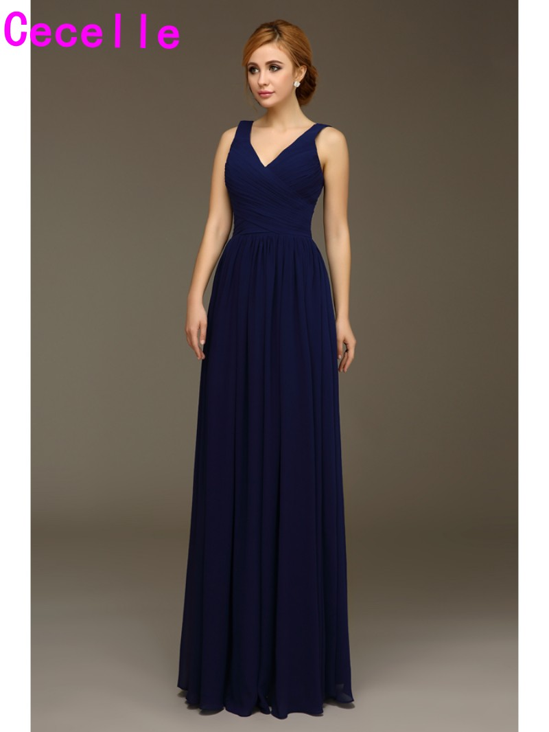 Compare prices on country wedding party dresses online shopping 2017 real navy blue long bridesmaids dresses v neck tank straps wedding party dress floor length ombrellifo Images