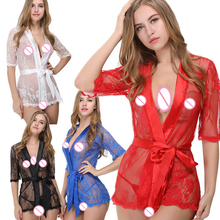 Plus Size XS-2XL Blue Black Red White Lace Lingerie Sexy Hot Erotic Robes with Thong Belt Nightgown Pajamas Erotic Appeal