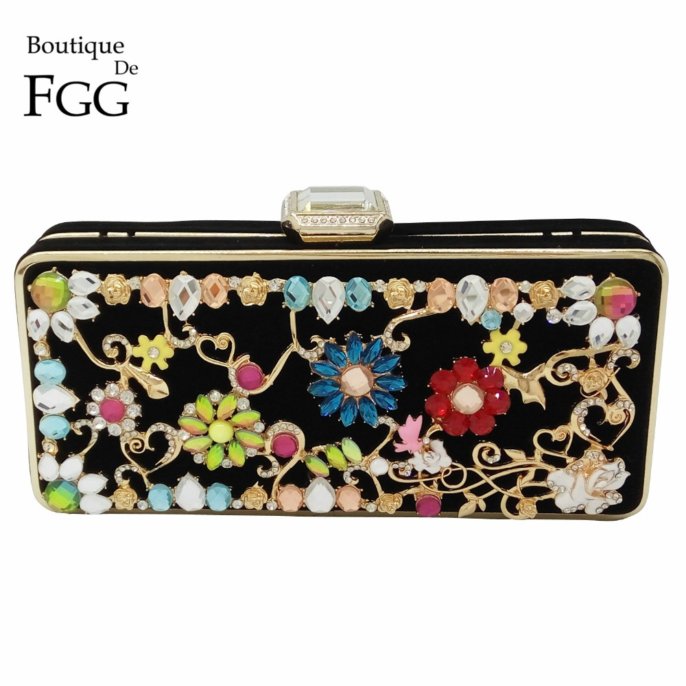 High-End Crystal Diamond Flower Appliques Patchwork Women Black Velvet Evening Box Clutch Bags Party Metal Clutches Shoulder Bag<br><br>Aliexpress