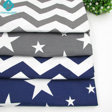 4pcs/lot 40cm*50cm Grey Dark Blue Stars Chevron Printed Cotton Fabric for Home Textile Bedding Quilting Tissue to Patchwork(China)