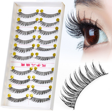10 pairs/pack Professional Eye Lash Tools Kit Hand Made Natural Long Synthetic Hair Lash Extension Fake Eye Lashes(China)