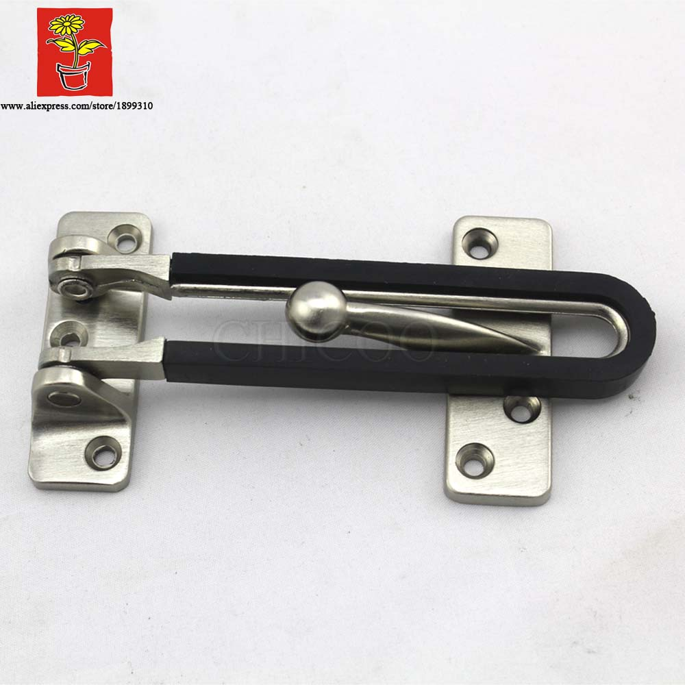 CHICOO Zinc Alloy Stain Nickel Security Door Guard Latch With Black Rubber Stopper Safety Locks Door Security Bolt Latch<br><br>Aliexpress