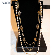 Simulated-pearls Beads Chain Necklace Hollow Camellia flowers 3 layerd Long C Necklace Jewelry Gift
