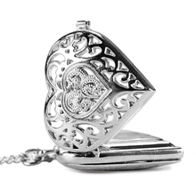 Fashion Silver Heart Shape Long Necklace Pendant Women Girl Vintage Quartz Pocket Watch Hollow Steampunk Lover's Gift(China)
