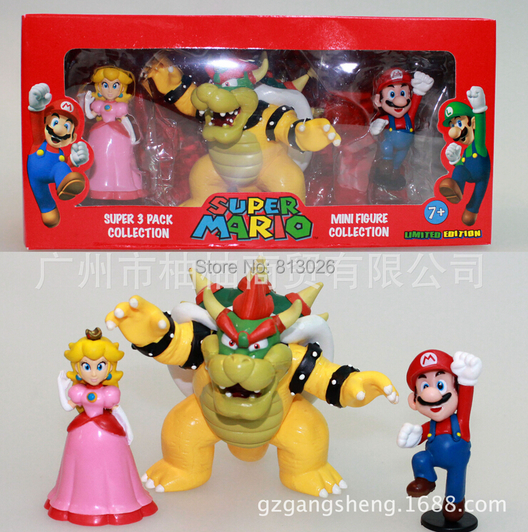 3pcs/set Super Mario Bros Bowser figures PVC Collection figures toys for christmas gift brinquedos<br><br>Aliexpress
