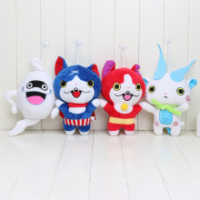 4Pcs/set 20cm Japan Yokai Watch Red Cat KOMA SAN Nyan Whisper Youkai Watch Plush Toy Soft Doll