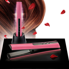Ceramic Mini Hair Straightener Curler Li-ion Rechargeable Battery Hair Iron Portable Travel Hair Straightening Iron GMR171(China)