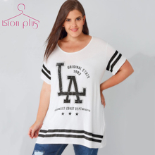 Geometric Letter Print T-Shirt Oversized 2017 Summer Black White Casual Brief Style O-Neck T Shirt Women Large Sizes 7XL 6XL 5XL(China)