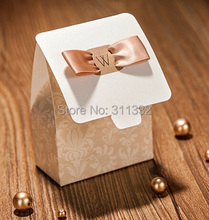 NEW Romantic European gilded Champagne gold Wedding favour Candy box,Sweety party Favor Box Gift flower,50pcs/lot