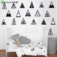 Cute Mountain Vinyl Wall Stickers For Kids Room Nordic style Mountains Wall Decal Home Decor Baby Nursery Christmas Muraux D989(China)