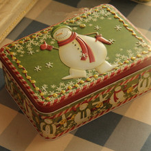 2016 New Design Christmas Gift Box Embossed Tin Box Christmas Tree Decorations Ornaments Candy Case for Home Free Shipping
