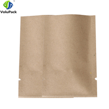 "6x9cm (2.25x3.5"") wholesale Thick flat metallic mylar paper bags coffee tea open top brown kraft paper bag storage(China)"