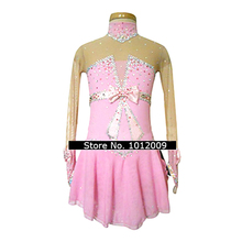 Customized Costume Ice Skating Figure Skating Dress Gymnastics Adult Child Girl Skirt Competition Pink Knot Shiny Rhinestone
