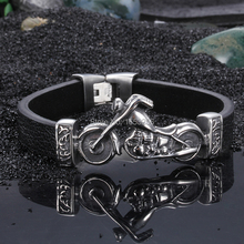 8.66'' Stainless Steel Cool motorcycle skull Charms with  Genuine leather  Bracelet  Best Quality Punk Jewelry for Men gifts